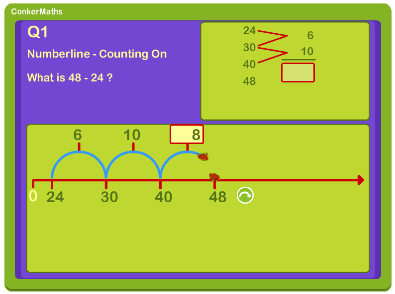 Subtraction numberline screenshot